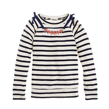 Girls' long-sleeve necklace tee in stripe