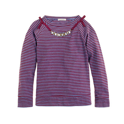 Girls' long-sleeve necklace tee in mini stripe