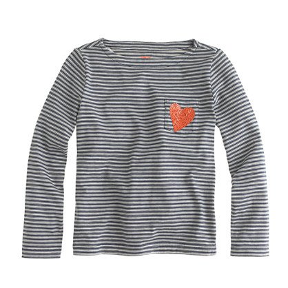 Girls' long-sleeve sequin-heart pocket tee in thin stripe
