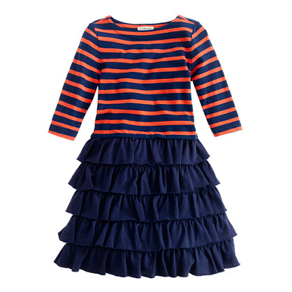 Girls' three-quarter sleeve cupcake dress in stripe