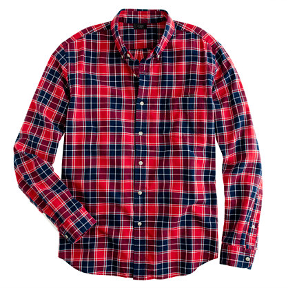 Oxford plaid shirt in leaf red casual shirts j crew for Red and white plaid shirt mens