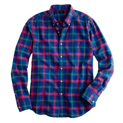 Oxford plaid shirt in vintage cobalt