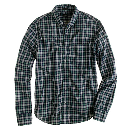 Slim heather plaid shirt in dark ivy