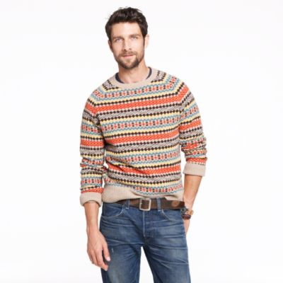 J.Crew Lambswool Falkirk Fair Isle sweater
