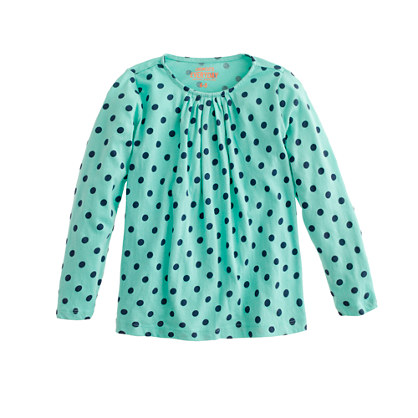 Girls' long-sleeve tiny pleats tee in dots