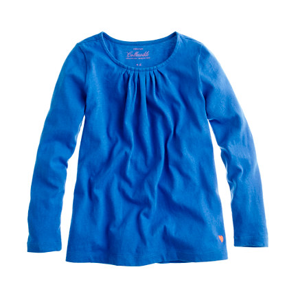 Girls' long-sleeve tiny pleats tee