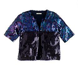 Girls' colorblock sequin jacket