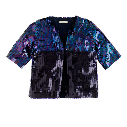 Girls' colorblock sequin jacket