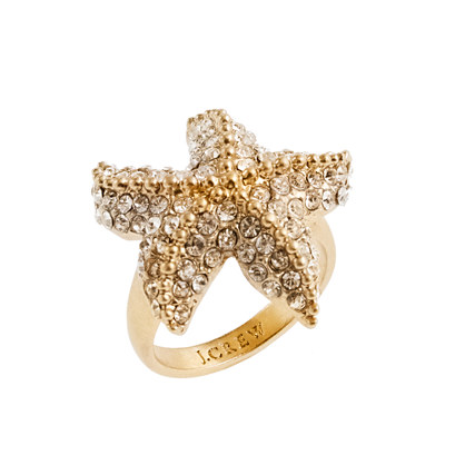 Crystal starfish ring