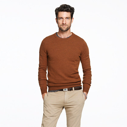 Slim rustic merino crewneck sweater
