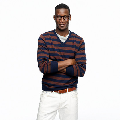 Merino V-neck sweater in medium-stripe