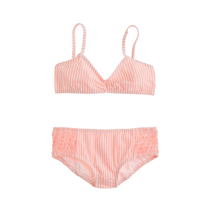 Girls' smocked seersucker bikini set