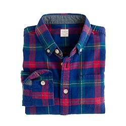 Boys' oxford shirt in cobalt plaid
