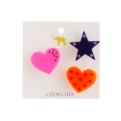Girls' hearts and star pins three-pack