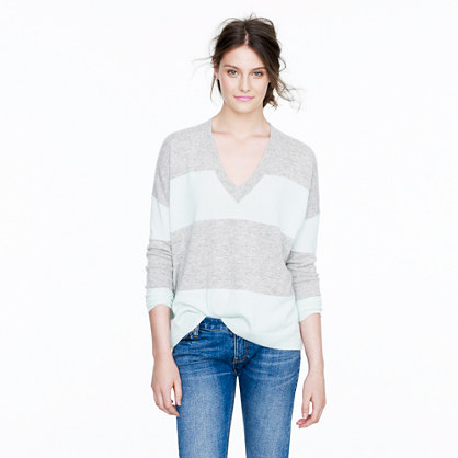 Collection cashmere boyfriend sweater in colorblock