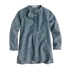 Girls' chambray pindot tunic