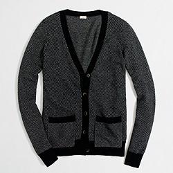 Factory herringbone V-neck cardigan