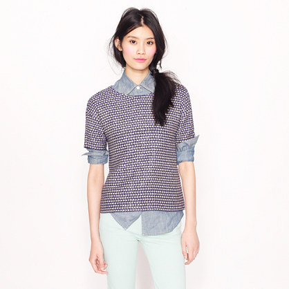 Tie top in navy tweed