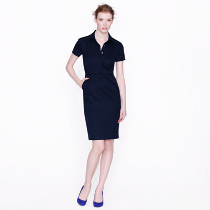Shirtdress in wool gabardine
