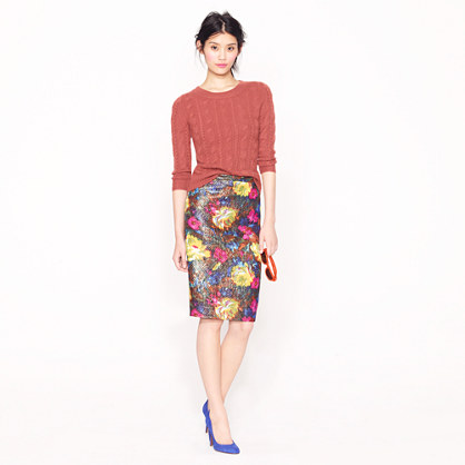 Collection No. 2 pencil skirt in floral brocade