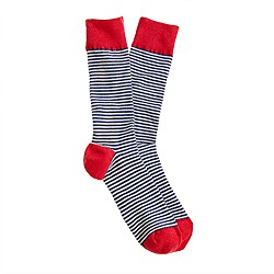 Thin-stripe ribbed socks