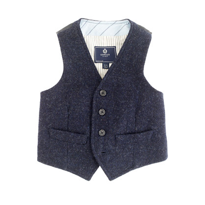 Boys' navy herringbone vest