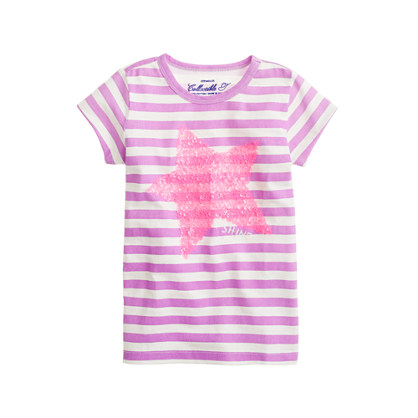 Girls' shining star tee in stripe