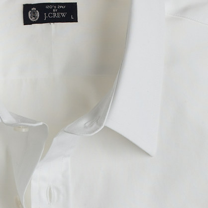 Point-collar regular-fit dress shirt in white