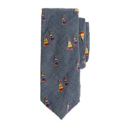 Boys' tie in embroidered sailboats