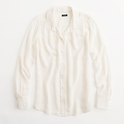 Factory silk two-pocket blouse