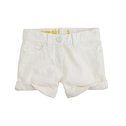 Girls' cowgirl roll-up white jean short