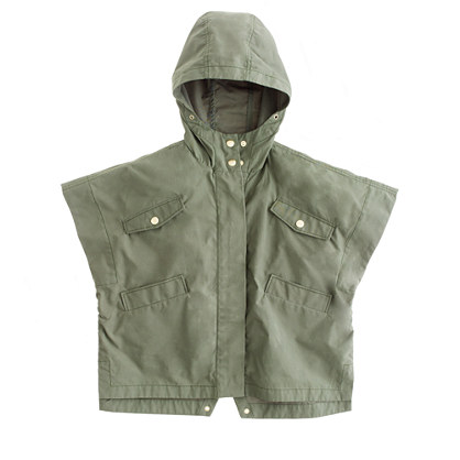Girls' waxed cotton popover jacket