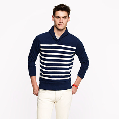 Heavyweight shawl-collar pullover in stripe