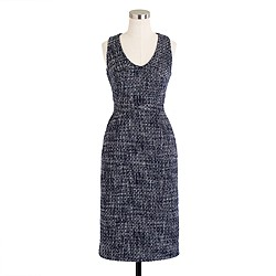 Sleeveless shift dress in pepper tweed