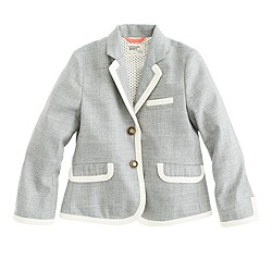 Girls' schoolboy blazer in tipped flannel