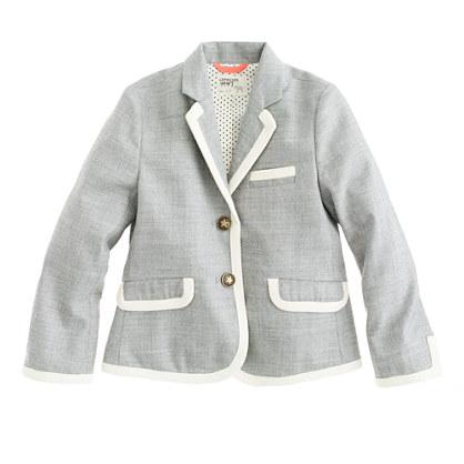 Girls' schoolboy blazer in tipped flannel