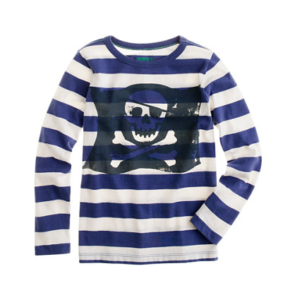 Boys' long-sleeve skull & crossbones stripe tee