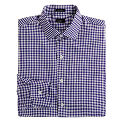 Ludlow spread-collar shirt in small gingham