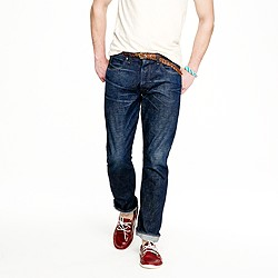 Wallace & Barnes slim selvedge jean in dark wear wash