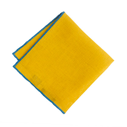 Two-tone linen pocket square
