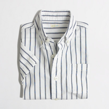 Factory boys' striped short-sleeve washed shirt