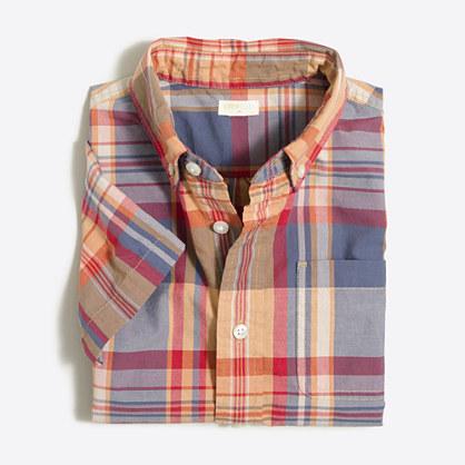 Boys' short-sleeve gingham washed shirt