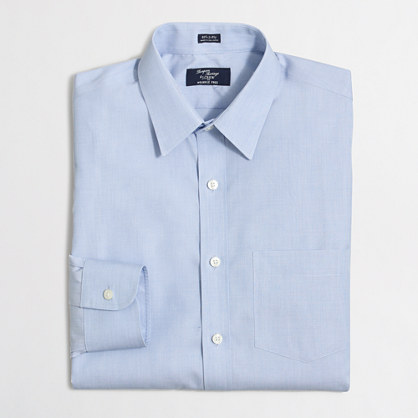 Factory wrinkle-free Voyager dress shirt in end-on-end