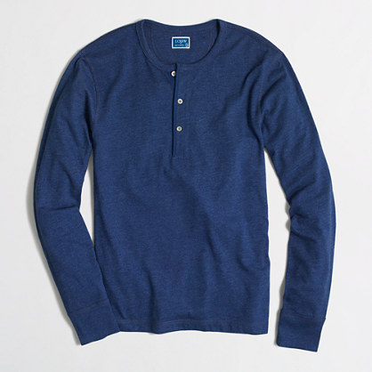 Factory marled cotton henley