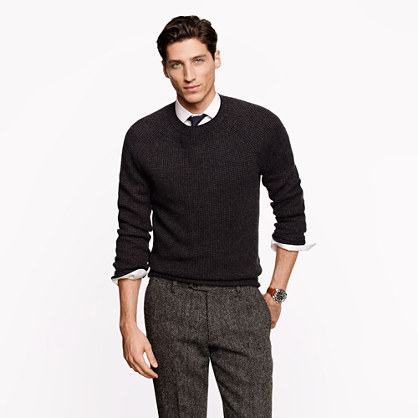 Italian cashmere waffle knit sweater j crew cashmere j for Crew neck sweater with collared shirt