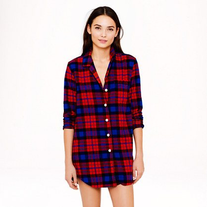 Nightshirt in bright cerise plaid flannel tops for Womens flannel night shirts