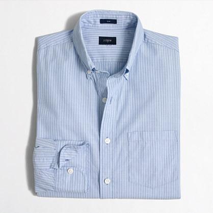 Factory slim washed shirt in horizontal stripe