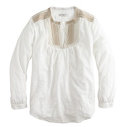 Embroidered bib peasant top in suckered stripe