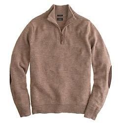 Slim rustic merino elbow-patch half-zip sweater