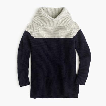 Girls' colorblock wool turtleneck